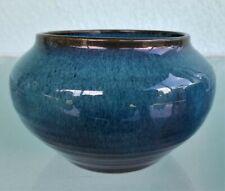 Studio Art Pottery Vase Bowl Cobalt Blue Nice Drip Glaze Mottled