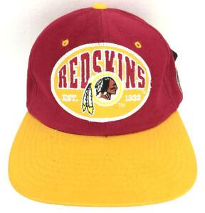 Vtg Washington Redskins Patch Hat Snap Back Script Logo Nutmeg NFL Football Cap