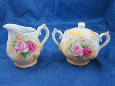 Vintage miniature toy tea sugar & creamer porcelain set pink roses L-375 flowers
