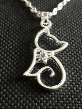 Rhinestone Necklace I Love Cats Cute Womens Silver Plated Cat Kitten Outline