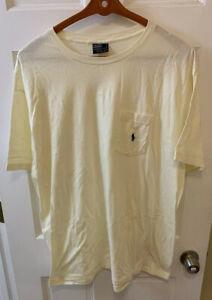 Polo Ralph Lauren Pocket Tee T Shirt Men Large L Ivory Cotton USA Made PRL RL