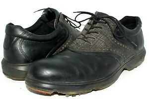 MENS ECCO GORE-TEX WATERPROOF BLACK LEATHER GOLF SHOES SIZE 46 OR 12 - 12.5