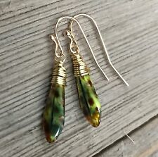 Min Favorit Czech Jade Picasso Glass Dagger & Gold Pl Wrap Artisan Earrings NEW!