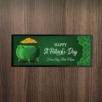 Personalised Happy St Patrick's Day Pot Of Gold V2 Design Bar Runner Pub Party