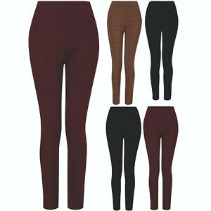 Womens Ladies Check Trousers Elasticated Waist Stretch Fit Patterned Sizes 8-18