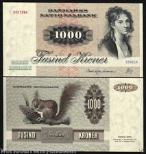 DENMARK 1000 KRONER P53 1992 EUROPEAN SQUIRREL UNC LARGE CURRENCY NOTE