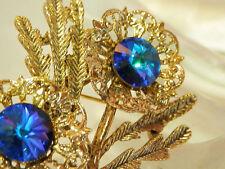 Beautiful Vintage 60's Blue Rivoli Reverse Crystal Rhinetone Flower Brooch 197j7