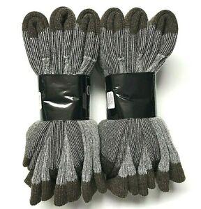 6 Pair Men Acrylic & Merino Wool Brown Hunting/ Hiking Crew Sock Size 10-13 USA