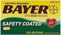 Bayer Aspirin Regimen, Regular Strength Tablets 325mg, 100 count Each