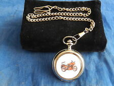 KAWASAKI NINJA GPZ MOTORCYCLE CHROME POCKET WATCH WITH CHAIN (NEW)