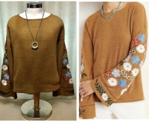 Anthropologie Isla Maude Floral Embroidered Bell Sleeve Sweater Sz Small Medium