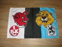 """TSV 1860 München/1.FC Kaiserslautern Original Fan Freundschaft Fahne """"Wappen"""""""