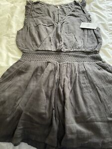 NWT FREE PEOPLE SOFT SURPLICE ROMPER IN CHARCOAL SIZE MEDIUM