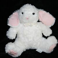 """Carters Musical BUNNY RABBIT 8"""" Pink Rose Gingham Feet Bow White Plush Soft Toy"""