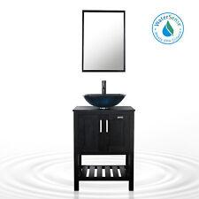 "24"" Bathroom Vanity Black W/Square Vessel Glass Sink Set Orb Faucet Drain Combo"