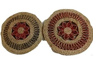 Vintage Round Rattan Red Flower Brown Natural Woven Trivet Hot Plates Set of Two