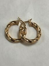 BZ ITALY 18K Gold Plated Twisted Hoop Earrings