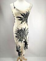 CACHE VTG 90s Handkerchief Hem Silk Black White Beaded Party Floral Dress Sz 2
