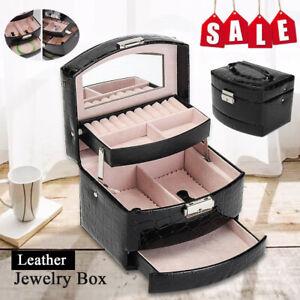Multi-Layer Large Leather Jewelry Display Storage Case Organizer Box