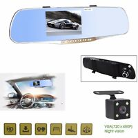 4.5'' HD 1080P Dual Lens Rear View Mirror Car DVR Dash Cam Video Camera Recorder