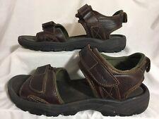 Rockport Mens Darwyn Quarter Brown Leather Strap Platform Slide Sandal Sz 11
