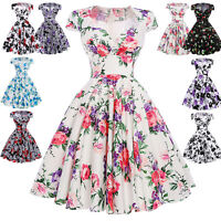 Floral Retro Vintage Housewife 40s 50s Swing Pin Up Evening Cocktail Party Dress
