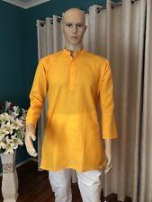"36"" S Sherwani Suit Indian Bollywood Mens Kurtha Mango Yellow Outfit Kurta KS27"
