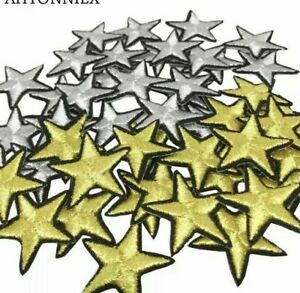 STAR IRON ON BADGE SEW ON PATCH EMBROIDERED APPLIQUE GOLD SILVER