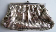"""VINTAGE WHITING & DAVIS SMALL SILVER MESH KISSLOCK CLUTCH~MADE IN USA 7"""" x 4"""""""