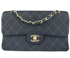 "Chanel Classic Timeless 9"" Black Cloth Double Flap Shoulder Bag"