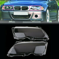 2x For BMW E46 3 Series 2002-2005 Clear Headlight Plastic Lens Lamp Cover Shell