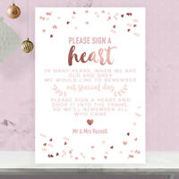 Personalised Sign A Heart Wedding Sign Rose Gold Effect and Blush Pink RGP16