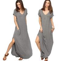 Womens V Neck Side Pockets Split Hem Beach Long Maxi Dress Casual Loose Sundress