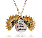 EXGOX Sunflower Locket Necklace Keep F&$#*^& Going Engraved Pendant Necklace
