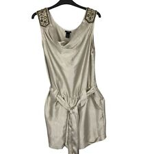 H&M Size 10 Eur 38 Gold Beaded Cowl Neck Shorts Belted All in One Playsuit
