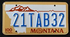 """MONTANA """" CENTENNIAL - 100 YEARS BIG SKY """" MT Specialty License Plate"""