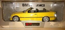 BMW M3 E36 SERIES M3 CABRIOLET YELLOW BY UT MODELS 1:18 BAD BOX NO WINDOW ON BOX