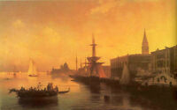 Oil painting Ivan Constantinovich Aivazovsky - Venice sunset harbor view canvas