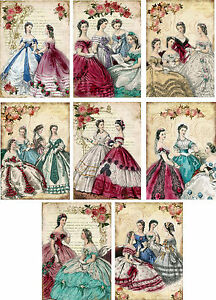 Vintage Victorian women stationery card set of 8  with organza bag