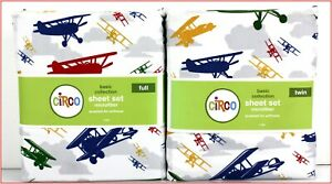 Circo AIRPLANES Sheet Set - Bi-Planes Clouds Planes - White Full or Twin 🌟NEW🌟