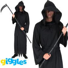 Mens Grim Reaper Costume Ghoul Robe Death Scary Horror Halloween Fancy Dress
