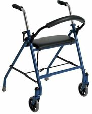 Drive Medical 1239BL Blue 2 Wheel Rollator Walker with Padded Seat and Back Rest