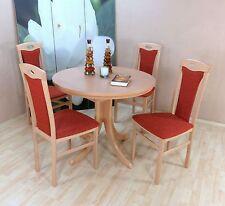 Essgruppe 5-tlg. Auszugtisch rund Stühle Esstisch Farbe: Buche Natur/Terracotta