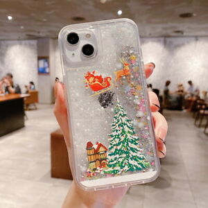For iPhone 13 12 11 Pro Max XS XR 8 7 Plus Christmas Quicksand Soft Case Cover