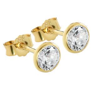 Paar 5,3mm Ohrstecker Gelbgold 375 Gold Ohrringe 9 Karat Zirkonia Weiß 2607