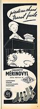PUBLICITE ADVERTISING 104  1956  GEF MERINOVYL    chaussettes laine mérinos