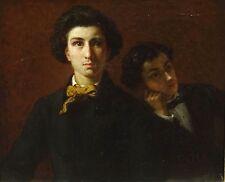 Fine 19th siècle français double/Self Portrait Frères antique Peinture à l'huile