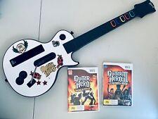 Genuine Wii Guitar Hero Guitar + 2 Games works on Nintendo Wii & Wii U White