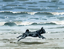 """Black Pug at the Beach"" Watercolor ART Print Signed by Artist DJR"