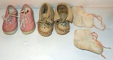 Vintage Baby Toddler Childs Shoe Lot Sneakers / Beaded Moccasins / Cloth Booties